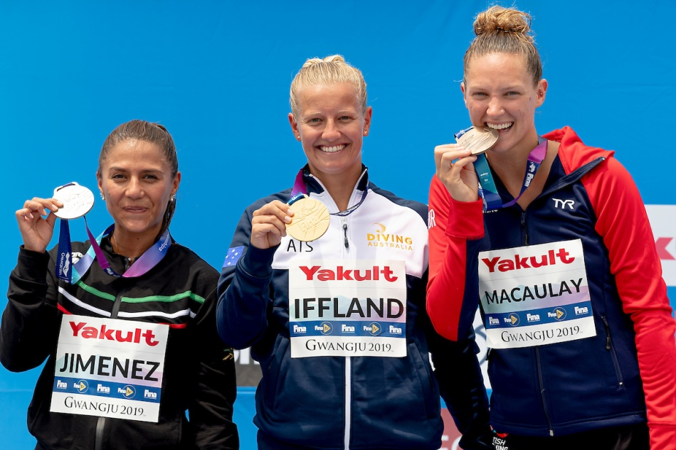 (L to R) JIMENEZ Adriana MEX Mexico Silver Medal, IFFLAND Rhiannan AUS Australia Gold Medal, MACAULAY Jessica GBR Great Britain Bronze medalBronze Medal