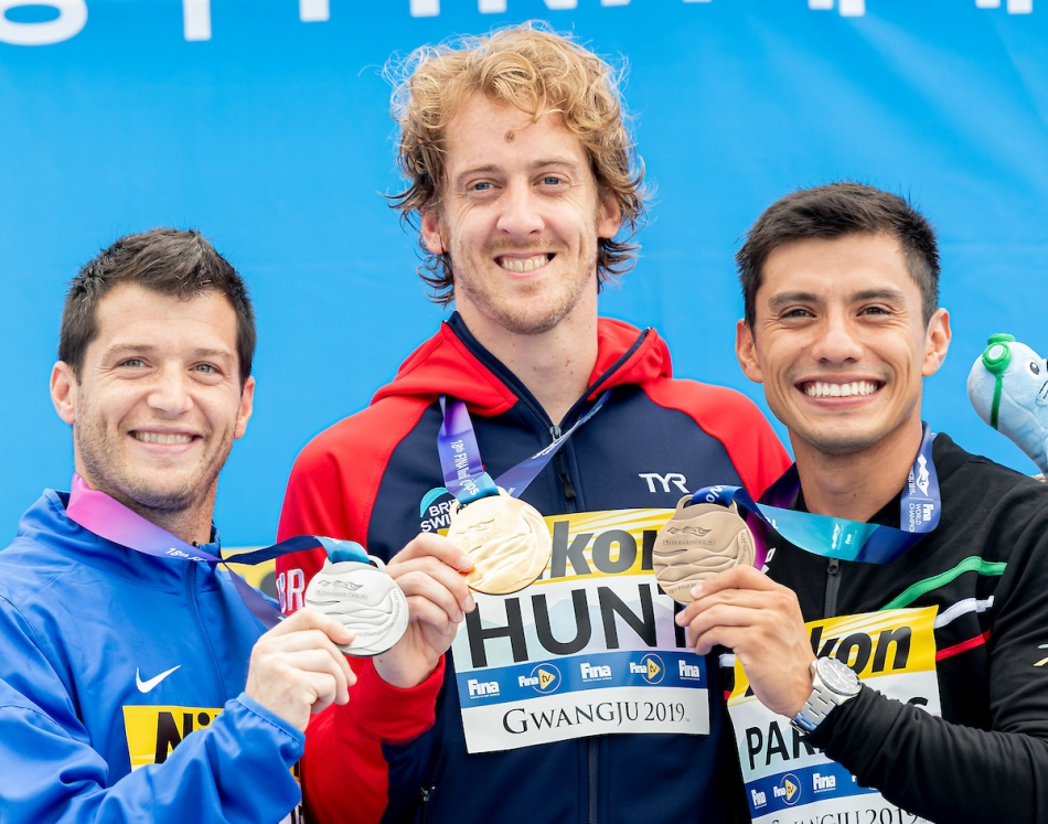 LO BUE Steve USA Silver medal, HUNT Gary GBR gold medal, PAREDES Jonathan MEX Bronze medal respectively  gold and silver medal