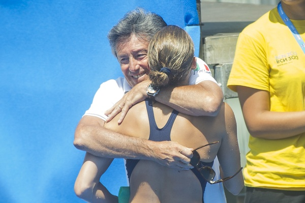 Tania Cagnotto ITA silver medal celebrates with his father and coach Giorgio Cagnotto